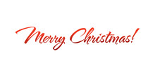 Merry Christmas Lettering, Vector Illustration. Christmas Greeting Card Text