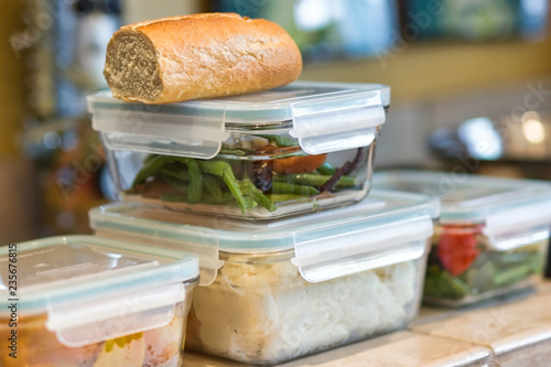 Fotomural Leftovers in stacked containers