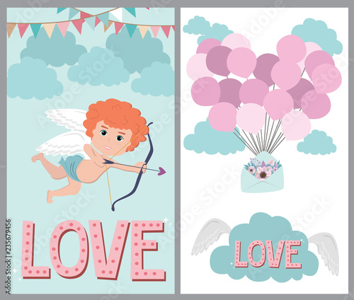 Set Of Cute Cards With Romantic Style For Valentine S Day Save The