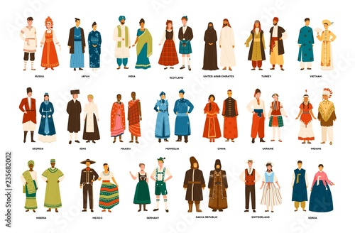 Fotografia  Collection of men and women dressed in folk costumes of various countries isolated on white background