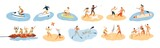 Fototapeta Fototapety z morzem do Twojej sypialni - Set of people performing summer sports and leisure outdoor activities at beach, in sea or ocean - playing games, diving, surfing, riding water scooter. Colorful flat cartoon vector illustration.