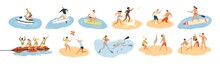 Set Of People Performing Summer Sports And Leisure Outdoor Activities At Beach, In Sea Or Ocean - Playing Games, Diving, Surfing, Riding Water Scooter. Colorful Flat Cartoon Vector Illustration.