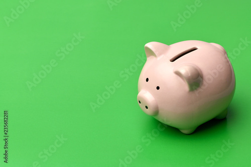 Pink piggy Bank stands on the right on a green background Wallpaper Mural