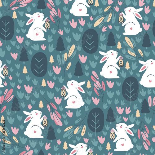 Fototapeta Seamless pattern with cute rabbit. Childish print. Vector