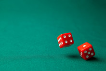 Two Red Dice On Green Poker Ga...