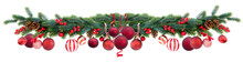 Christmas Festive Garland With Red Balls, Cones And Berries On Isolated White Background