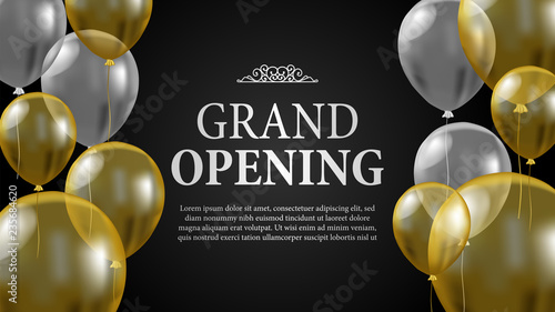 Cuadros en Lienzo Grand opening template with transparent flying helium balloon