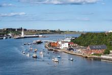Blick über Den Fluss Tyne Und North Shields