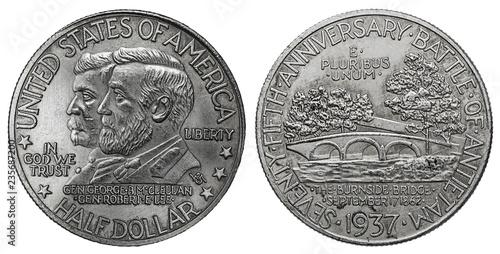 Valokuva  1937 Antietam silver half dollar coin
