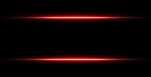 Neon Red Lights Line Frame Isolated On Black Background. Vector Illustration