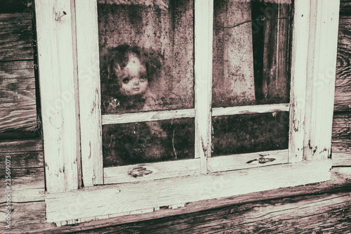Wallpaper Mural Scary horror plastic doll without eyes