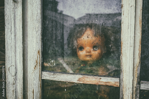 Canvas Print Scary horror plastic doll without eyes