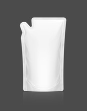 White Refill Pouch Isolated On Gray Background