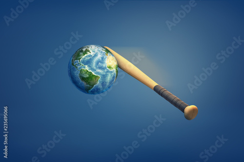Fotografie, Obraz  3d rendering of the earth's being hit by a baseball bat.