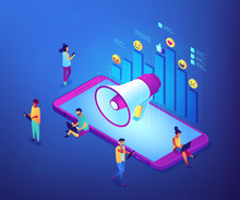 Smartphone With Megaphone And Social Media Icons Diagram. Social Media Marketing, Internet Marketing, Social Networking Marketing Concept. Ultraviolet Neon Vector Isometric 3D Illustration.
