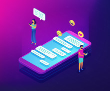 Businessman And Woman And Chatting Conversation On Smartphone With Emoticons. Messaging Application, Mobile Chat App, Messenger Mobile Soft Concept. Ultraviolet Neon Vector Isometric 3D Illustration.