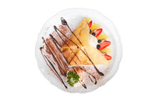 Top View Of Cold Crepe With Vanilla Ice Cream, Strawberry, Kiwi And Whipped Cream Topped With Chocolate Sauce Isolated On White Background (with Clipping Path).