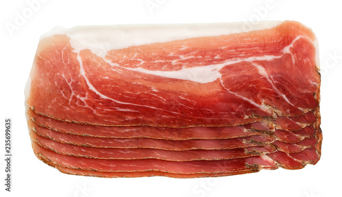 dried pork sliced isolated on white background