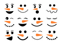 Cute Snowman Faces - Vector Co...