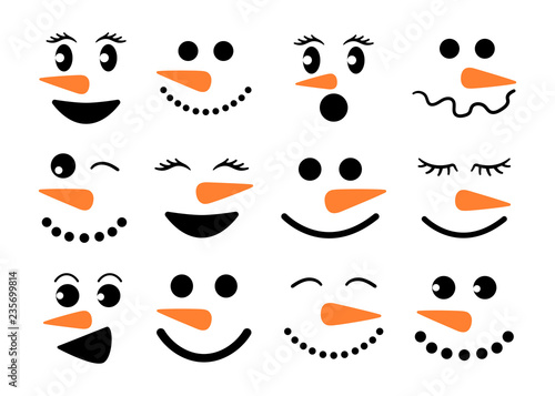 Fotografie, Obraz Cute snowman faces - vector collection
