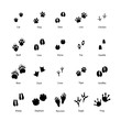 Large set of animal and bird silhouettes of steps imprints on white