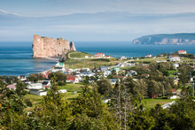 View Of The Perce Rock And The Bonaventure Island In Canada