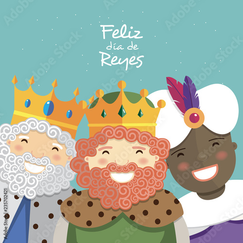 Fotografía Happy three kings smiling and spanish text on a green background
