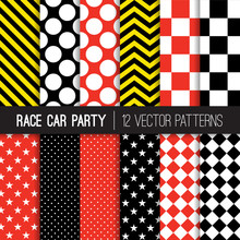 Race Car Theme Vector Seamless Pattern Mix. Red, Black And Yellow Chevron, Checkerboard, Stars, Stripes And Polka Dots. Repeating Pattern Tile Swatches Included.