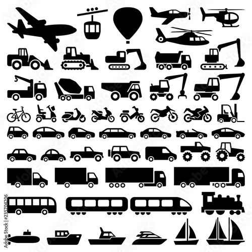 Fotografía  Transport icon collection - vector silhouette