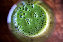 Close Up Of Green Smoothie With Cucumber And Cumin