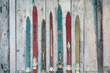Vintage Wooden Weathered Ski's...