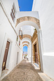 Fototapeta Alley - vertical shot of narrow pedestrian famous street with archs, in typical white houses Andalusian village named Vejer de la Frontera (Cadiz, Andalusia, Spain, Europe)