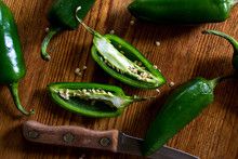 Close Up Of Green Chili Pepper Slices