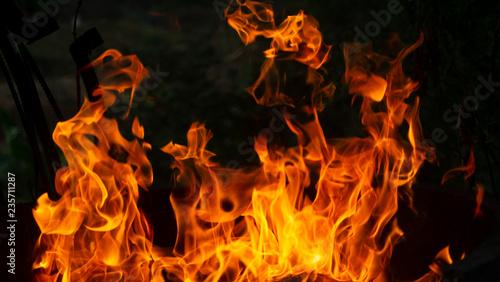 Keuken foto achterwand Vuur Fire flames on black background. Fire background