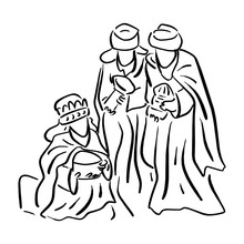 Three Wise Men Bringing Gifts To Jesus Vector Illustration Sketch Doodle Hand Drawn With Black Lines Isolated On White Background