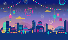 Chinese New Year - City Landscape With Colorful Fireworks And Lanterns. Vector Background