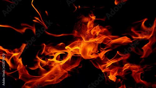 Montage in der Fensternische Feuer / Flamme Fire flames on black background. Fire background