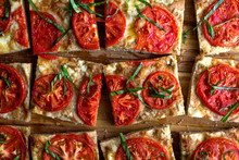 Close Up Of Tomato Focaccia Slices