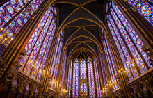 PARIS, FRANCE, SEPTEMBER 6, 2018 - Stained Glass Windows Inside The Sainte Chapelle In Paris, France