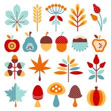 Turquoise Autumn Retro Icons Set