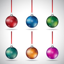 Christmas Balls With Various Snowflake Designs And Red Ribbon Vector Illustration