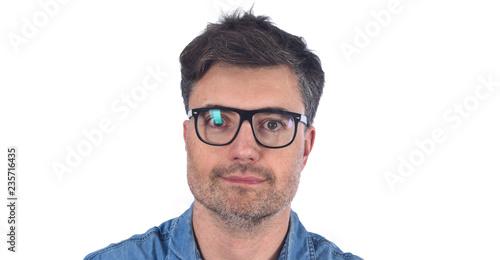 Fotografie, Obraz  full portrait of a man  pointig on white background