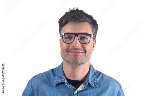 Photographie  portrait of smiling man on white