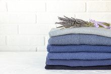 Stack Of Folded Warm Knitted M...