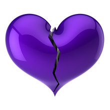 Purple Broken Heart Shape. Failure Love, Cracked Soul, Depression Pain Symbol, Bad Luck Drama Abstract. 3d Rendering Illustration