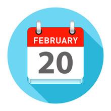 February 20 Single Day Calendar Style