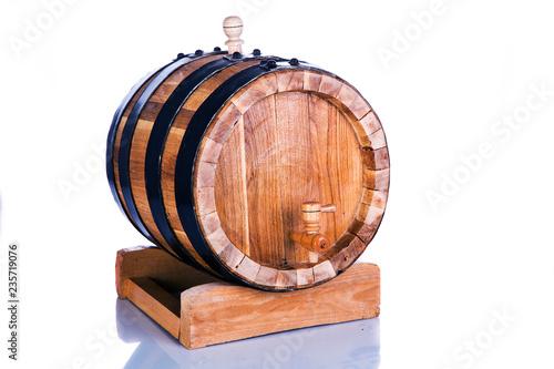 Tuinposter Bier / Cider Barrel on stand