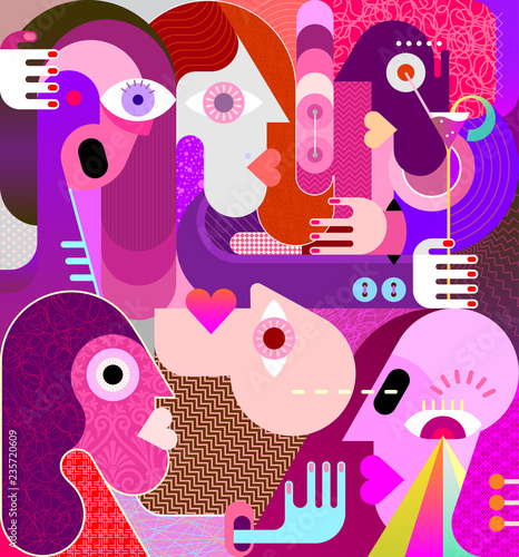 Group of Strange People vector illustration