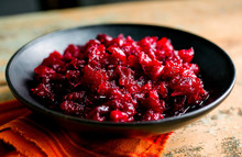 Close Up Of Red Pepper And Cranberry Relish Served In Bowl