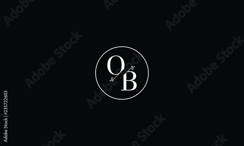Fotomural  LETTER O AND B FLOWER LOGO WITH CIRCLE FRAME FOR LOGO DESIGN OR ILLUSTRATION USE
